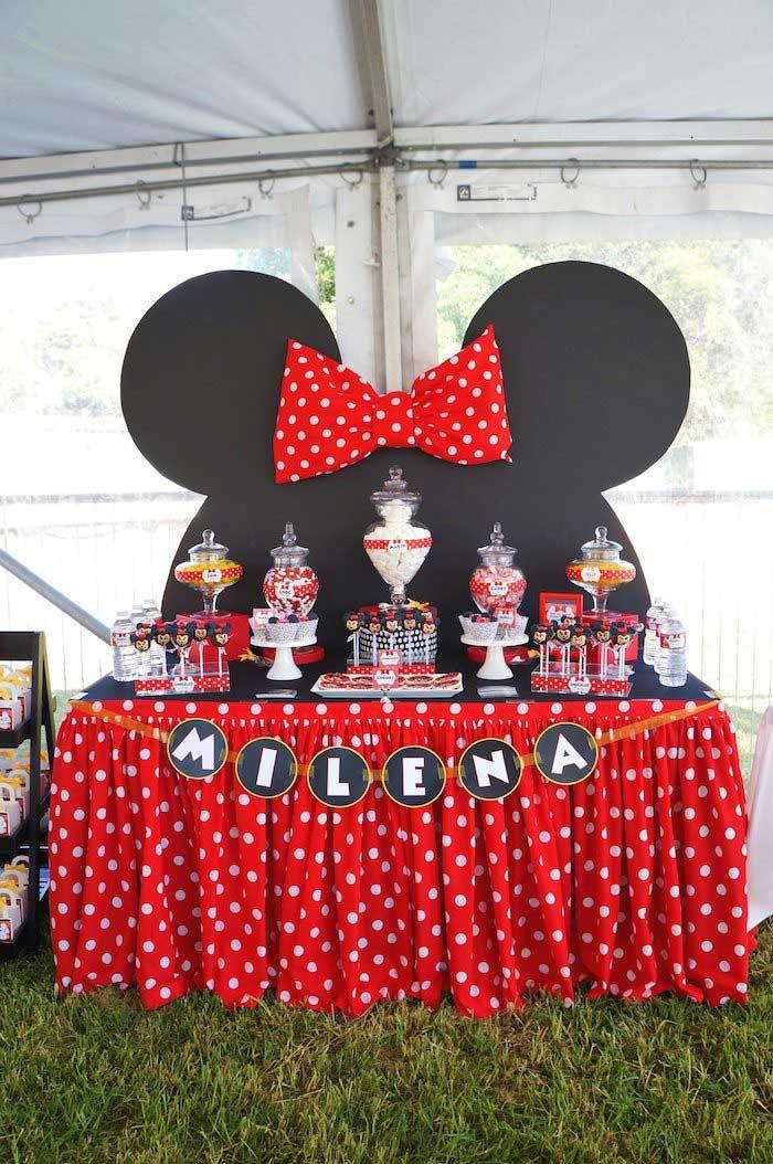 Todo para una fiesta con tema de minnie mim como for La table de mimi