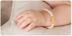 pulsera perlas cruz oro bebe bautizo